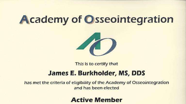 Dental Implant Academy Certificate Dr. James Burkholder